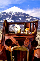 Old Car With Doll and Cows Head.           Great Basin NP. Nevada